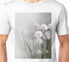 Gray and Lavender Chive Blossoms Unisex T-Shirt