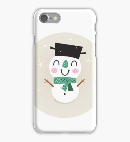 Vintage Snowman on snowing background iPhone Case/Skin