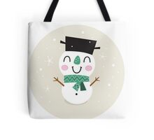 Vintage Snowman on snowing background Tote Bag