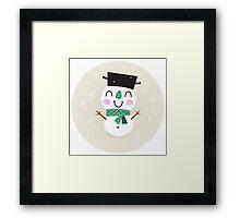 Vintage Snowman on snowing background Framed Print