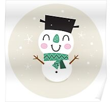 Vintage Snowman on snowing background Poster
