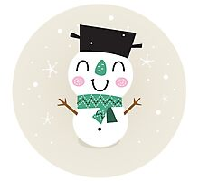 Vintage Snowman on snowing background Photographic Print