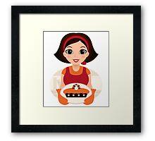 Vintage cooking Woman Vector Framed Print