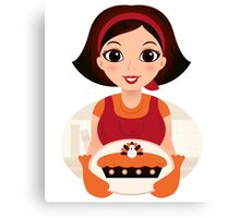 Vintage cooking Woman Vector Canvas Print