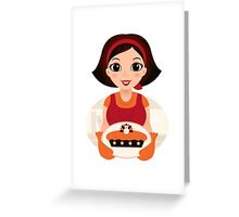 Vintage cooking Woman Vector Greeting Card
