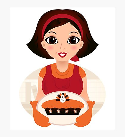 Vintage cooking Woman Vector Photographic Print
