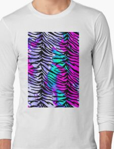 Tiger Stripes Purple, Blue and Pink Long Sleeve T-Shirt