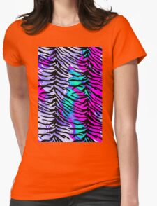 Tiger Stripes Purple, Blue and Pink Womens Fitted T-Shirt