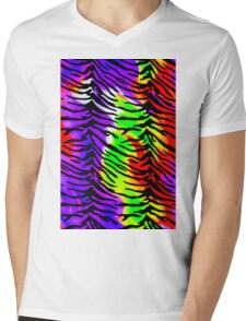 Tiger Stripes Rainbow Fire 2 Mens V-Neck T-Shirt