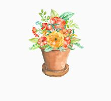 Watercolor Flowerpot with Flowers Unisex T-Shirt