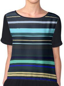 Blue Stripes Chiffon Top