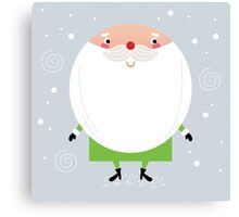 Simple stylized Santa on snowing christmas Canvas Print