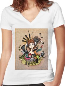 EMO- Music Is Love Women's Fitted V-Neck T-Shirt