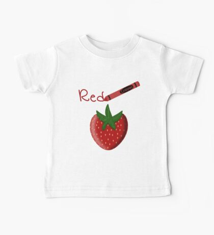 Red Crayon with Strawberry Baby Tee