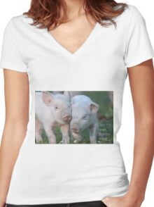 Cute Piglets Poster for Vegans/Vegetarians Women's Fitted V-Neck T-Shirt