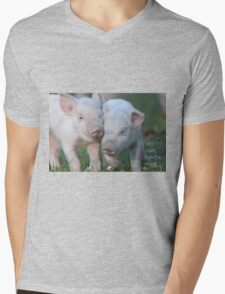 Cute Piglets Poster for Vegans/Vegetarians Mens V-Neck T-Shirt