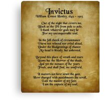 """Invictus"", Victorian poem on parchment Canvas Print"
