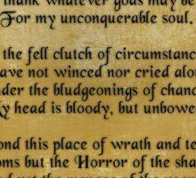 """Invictus"", Victorian poem on parchment Sticker"