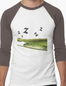 Silly Cute Cool Adorable Fun Sleepy Green Anole Lizard  Men's Baseball ¾ T-Shirt
