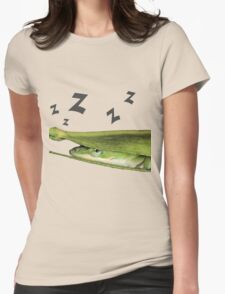 Silly Cute Cool Adorable Fun Sleepy Green Anole Lizard  Womens Fitted T-Shirt