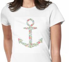 Floral Anchor Womens Fitted T-Shirt