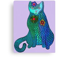 Blue cat with flowers Canvas Print