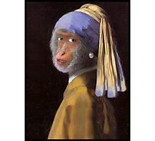 Chimp with the Pearl Earring Photographic Print