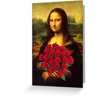 Mona Lisa Loves Red Roses Greeting Card