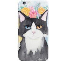 Springtime Tuxedo Cat iPhone Case/Skin