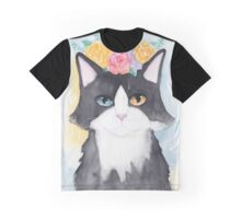 Springtime Tuxedo Cat Graphic T-Shirt