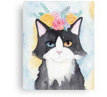 Springtime Tuxedo Cat Canvas Print