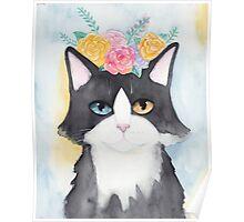 Springtime Tuxedo Cat Poster