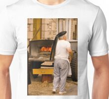 Brittany Baker Prepares His Wood Buring Oven for Baking Bread Unisex T-Shirt