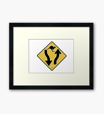 Kangaroo Sign - Urban Grunge Framed Print