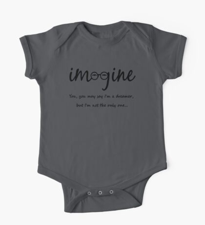 Imagine - John Lennon Tribute Typography Artwork - You may say I'm a dreamer, but I'm not the only one... One Piece - Short Sleeve