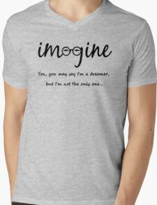 Imagine - John Lennon Tribute Typography Artwork - You may say I'm a dreamer, but I'm not the only one... Mens V-Neck T-Shirt
