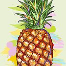 Cute Colorful  Pineapple Watercolors Illustration by artonwear