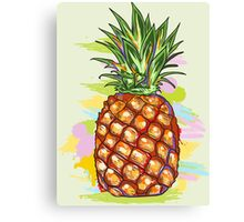 Cute Colorful  Pineapple Watercolors Illustration Canvas Print