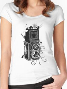 Retro Rolleiflex - Evolution of Photography - Vintage Women's Fitted Scoop T-Shirt
