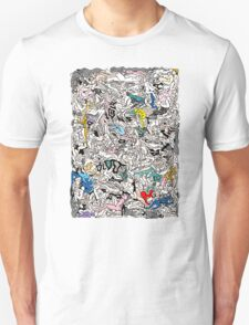 Fun Kamasutra Bodies Figures Doodle in Color Unisex T-Shirt
