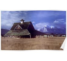 Loafing shed with Olympic Mountains Poster