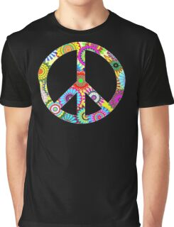 Peace Sign Cool Retro Flowers Design Graphic T-Shirt