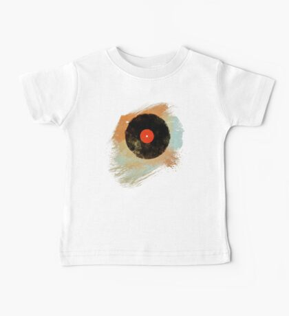 Vinyl Record Retro T-Shirt - Vinyl Records Modern Grunge Design Baby Tee