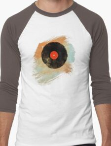 Vinyl Record Retro T-Shirt - Vinyl Records Modern Grunge Design Men's Baseball ¾ T-Shirt