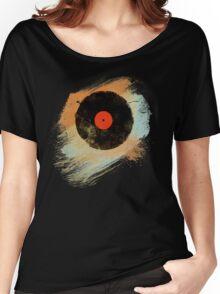 Vinyl Record Retro T-Shirt - Vinyl Records Modern Grunge Design Women's Relaxed Fit T-Shirt