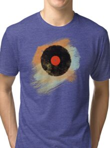 Vinyl Record Retro T-Shirt - Vinyl Records Modern Grunge Design Tri-blend T-Shirt
