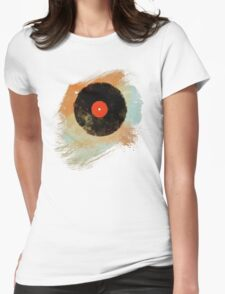 Vinyl Record Retro T-Shirt - Vinyl Records Modern Grunge Design Womens Fitted T-Shirt