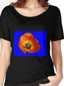 Orange and Yellow Tulip on Blue Background Women's Relaxed Fit T-Shirt
