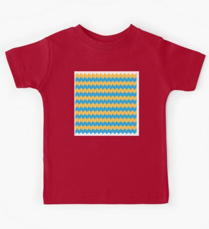 simple yellow and blue knit pattern Kids Tee