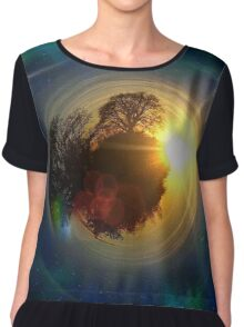Mini-Planet Lonely Tree Spaced Chiffon Top